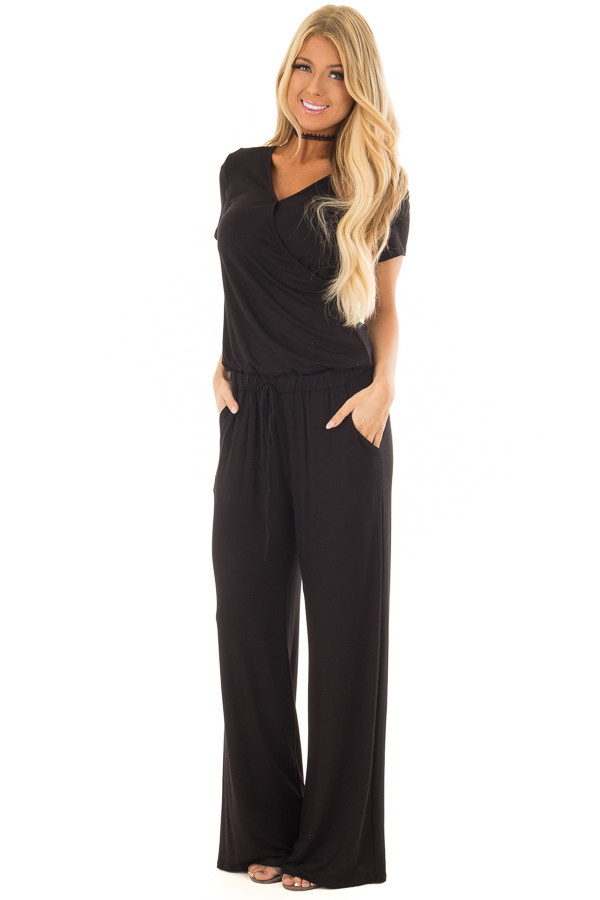 Black Short Sleeve Jumpsuit with Gathered Waist and Pockets front full body