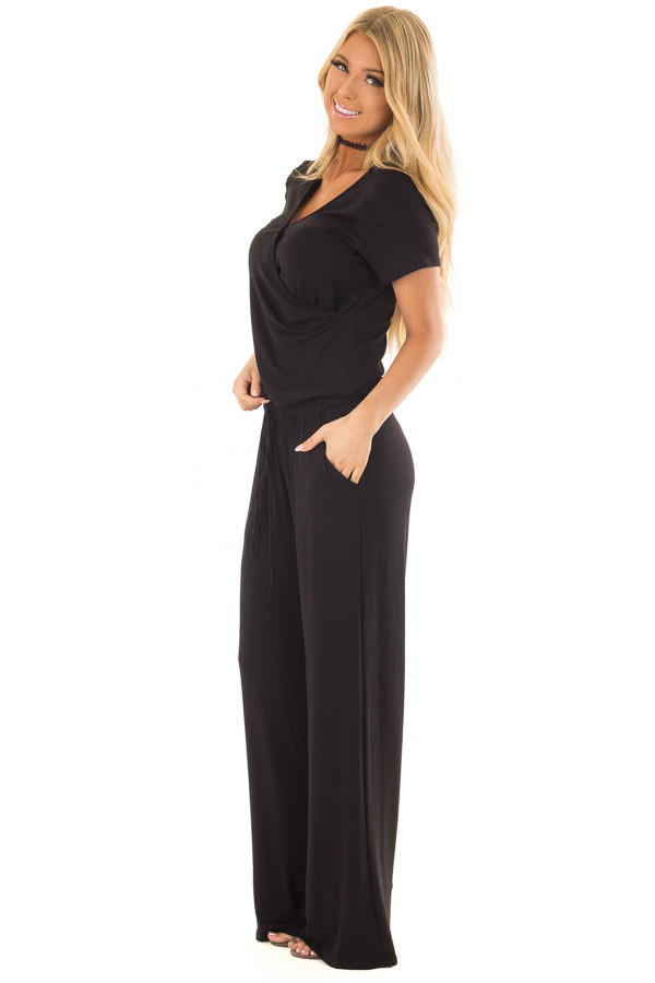 Black Short Sleeve Jumpsuit with Gathered Waist and Pockets side full body