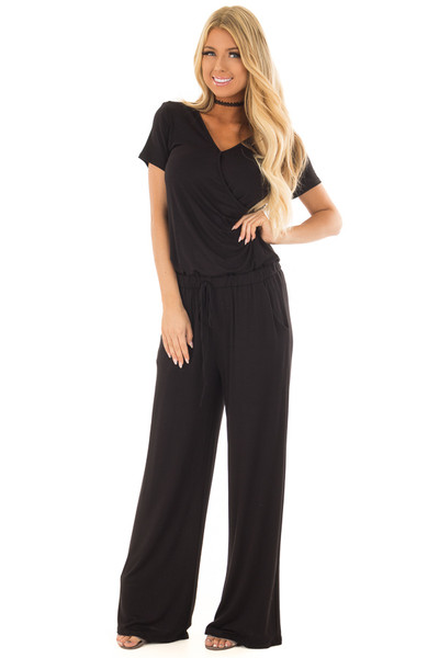 Black Short Sleeve Jumpsuit with Gathered Waist and Pockets front close up