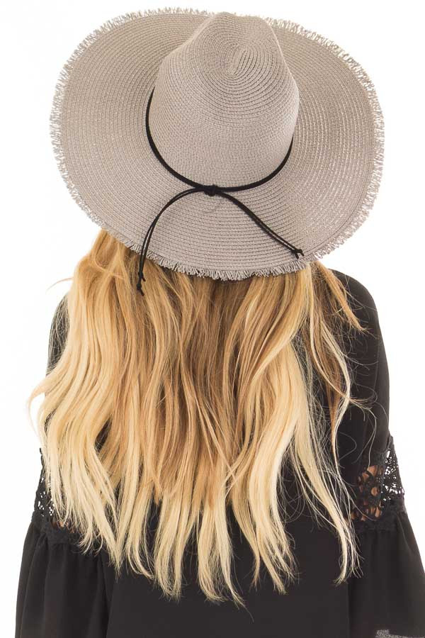 Light Grey Straw Wide Brim Hat with Black Tie back view
