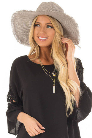Light Grey Straw Wide Brim Hat with Black Tie front view