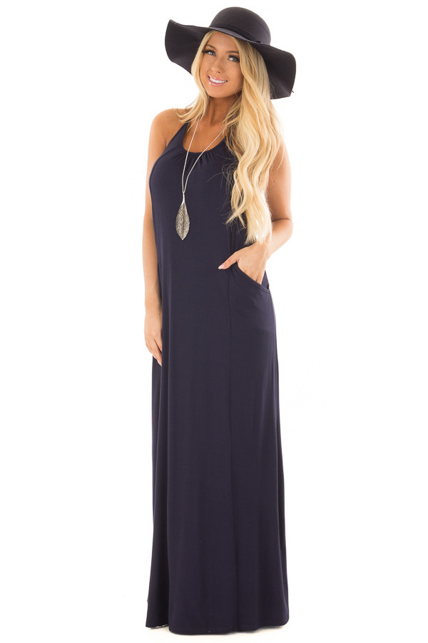 Navy Maxi Tank Dress with T Strap Open Back Detail front full body