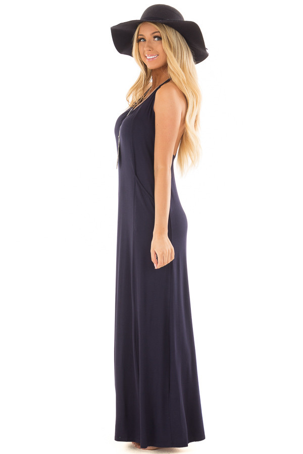 Navy Maxi Tank Dress with T Strap Open Back Detail side full body