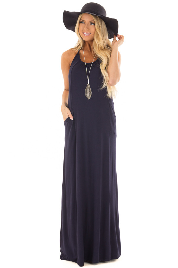 Navy Maxi Tank Dress with T Strap Open Back Detail front close up