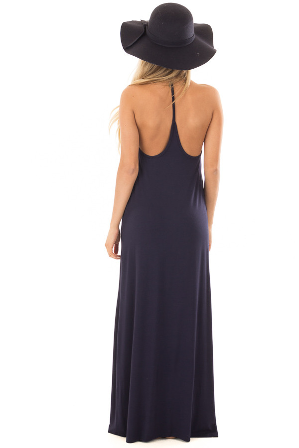 Navy Maxi Tank Dress with T Strap Open Back Detail back full body