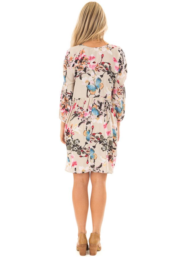 Taupe Floral Print Dress with Smocking Detail back full body