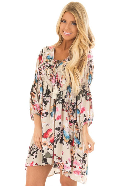 Taupe Floral Print Dress with Smocking Detail front close up