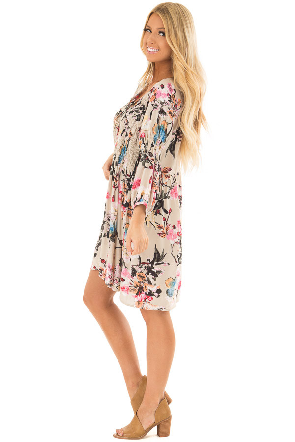 Taupe Floral Print Dress with Smocking Detail side full body