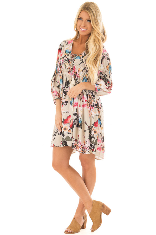 Taupe Floral Print Dress with Smocking Detail front full body