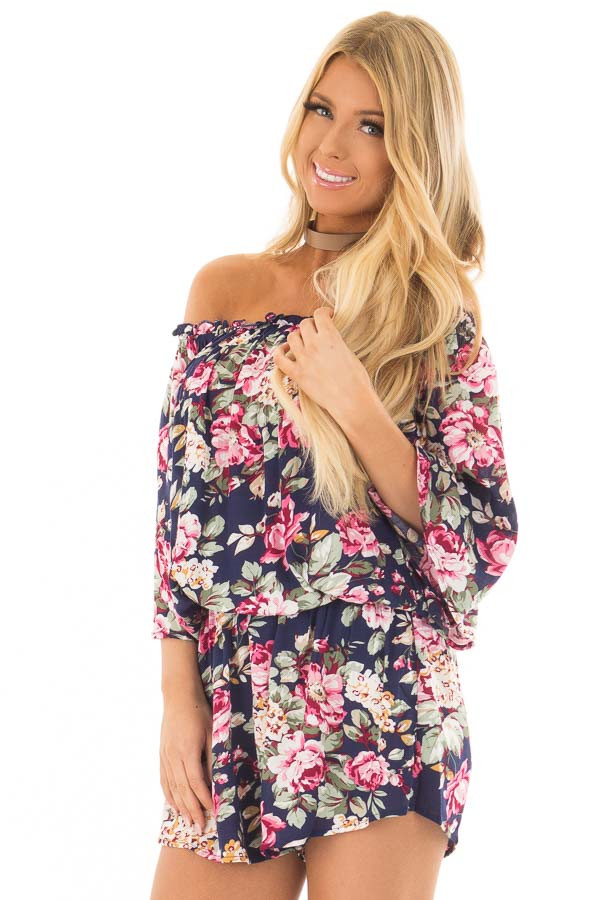 Navy Off the shoulder Romper with Floral Print Detail front close up