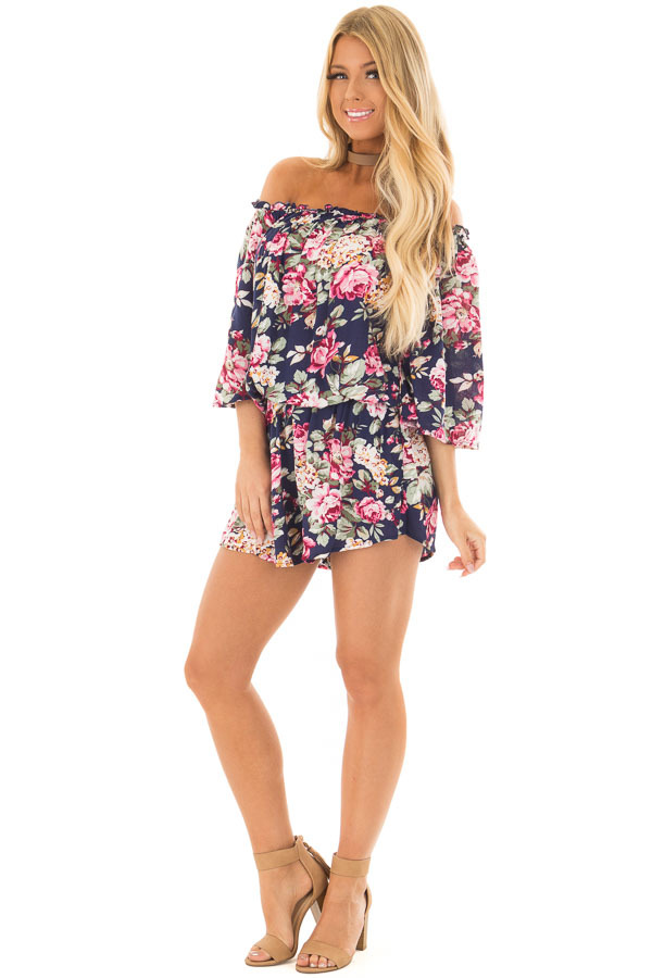 Navy Off the shoulder Romper with Floral Print Detail front full body
