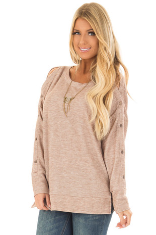 Taupe Long Sleeve Top with Button Detail on Sleeves front close up