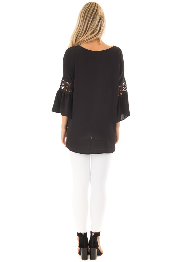 Black Blouse with Sheer Lace Details on Sleeves back full body