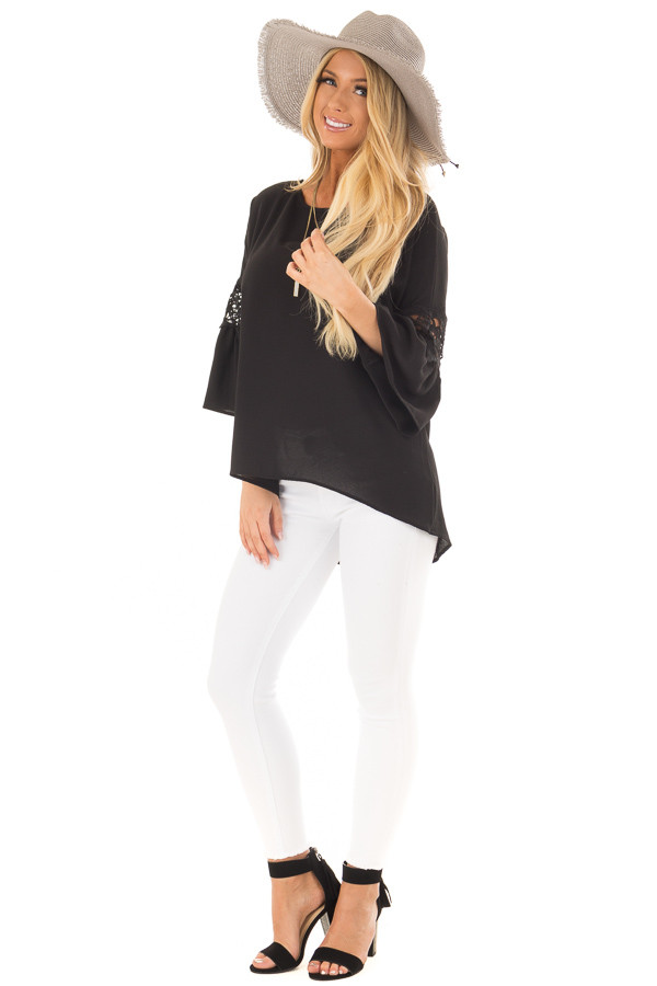 Black Blouse with Sheer Lace Details on Sleeves front full body