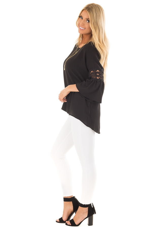 Black Blouse with Sheer Lace Details on Sleeves side full body