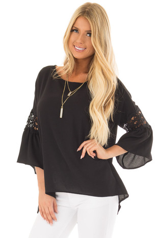 Black Blouse with Sheer Lace Details on Sleeves front close up