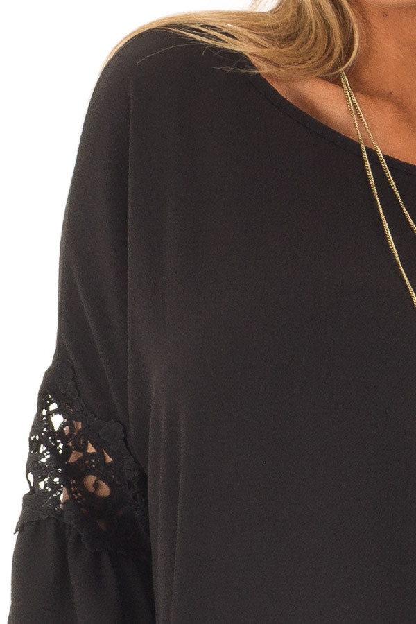 Black Blouse with Sheer Lace Details on Sleeves detail