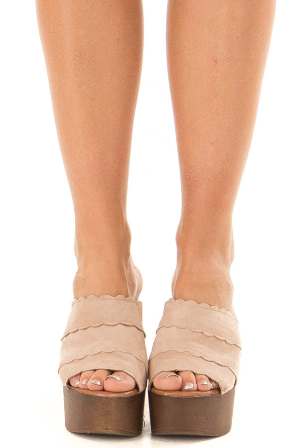 Taupe Platform High Heel Open Toe Sandal front view