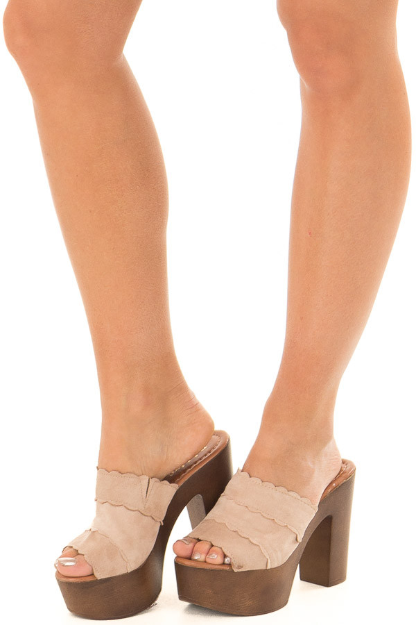 Taupe Platform High Heel Open Toe Sandal front side view