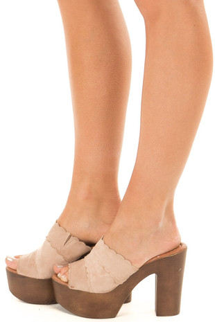 Taupe Platform High Heel Open Toe Sandal side view