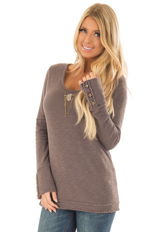 Taupe Long Sleeve Top with Distressed Hem and Button Cuffs front full body
