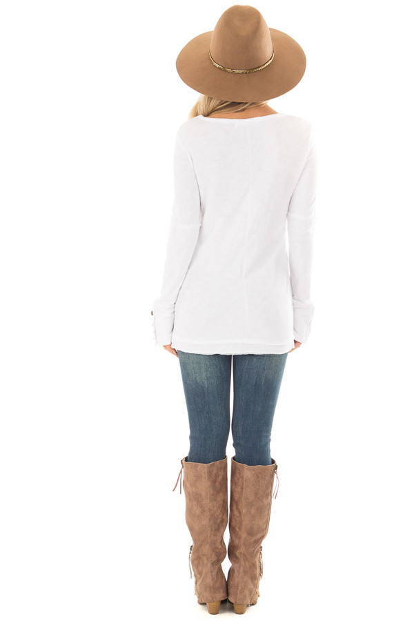 White Long Sleeve Top with Distressed Hem and Button Cuffs back full body