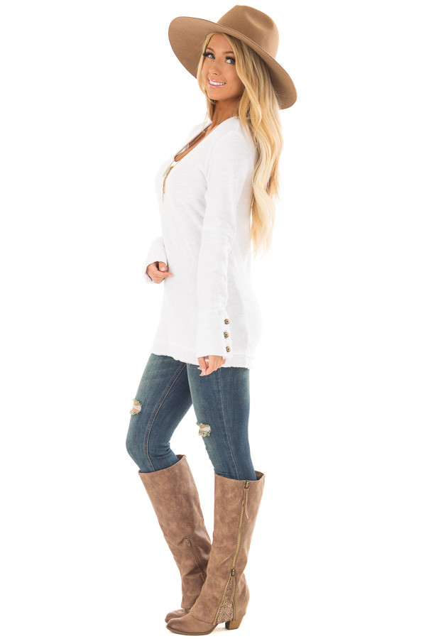 White Long Sleeve Top with Distressed Hem and Button Cuffs side full body