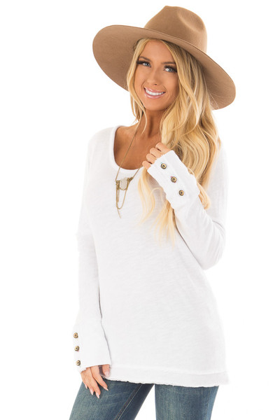 White Long Sleeve Top with Distressed Hem and Button Cuffs front close up