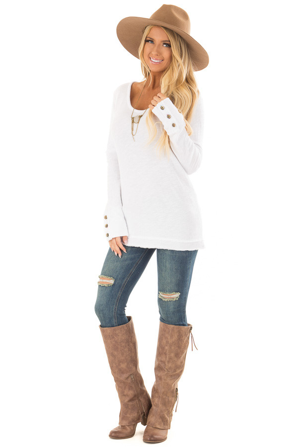 White Long Sleeve Top with Distressed Hem and Button Cuffs front full body