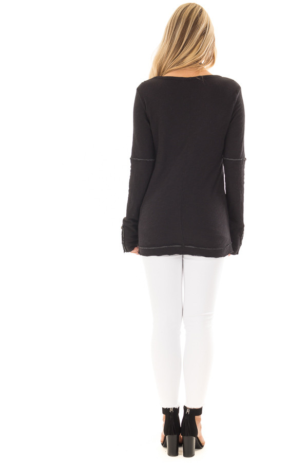 Black Long Sleeve Top with Distressed Hem and Button Cuffs back full body