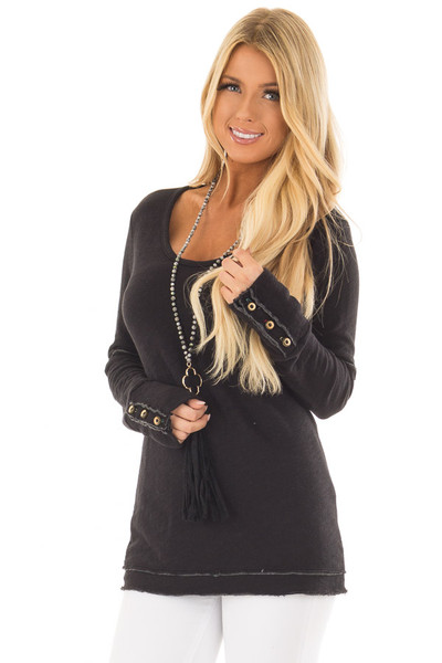 Black Long Sleeve Top with Distressed Hem and Button Cuffs front close up
