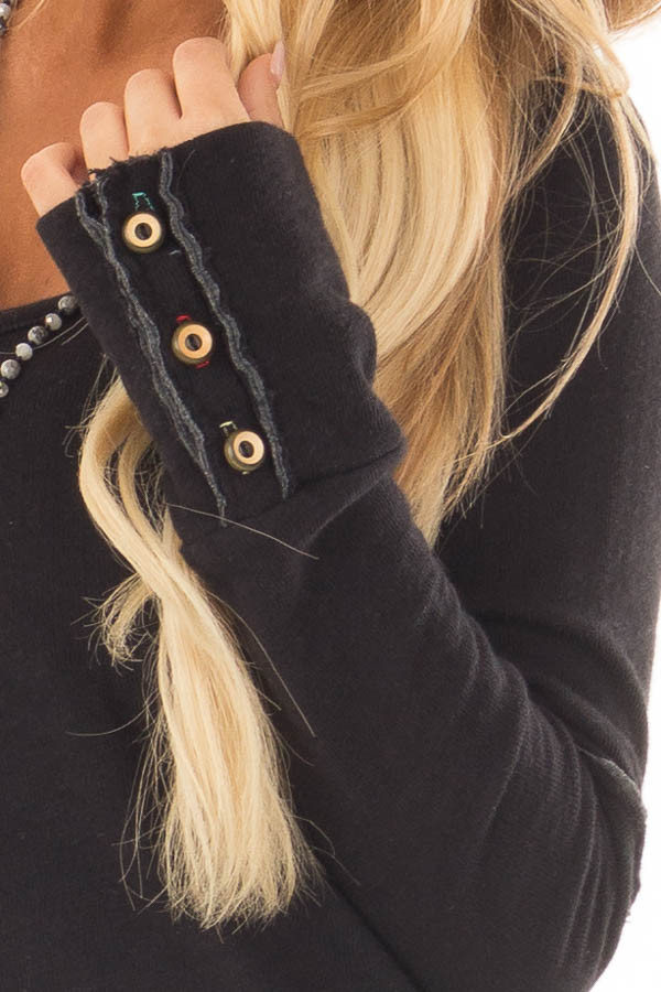 Black Long Sleeve Top with Distressed Hem and Button Cuffs detail