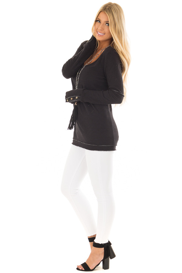 Black Long Sleeve Top with Distressed Hem and Button Cuffs side full body