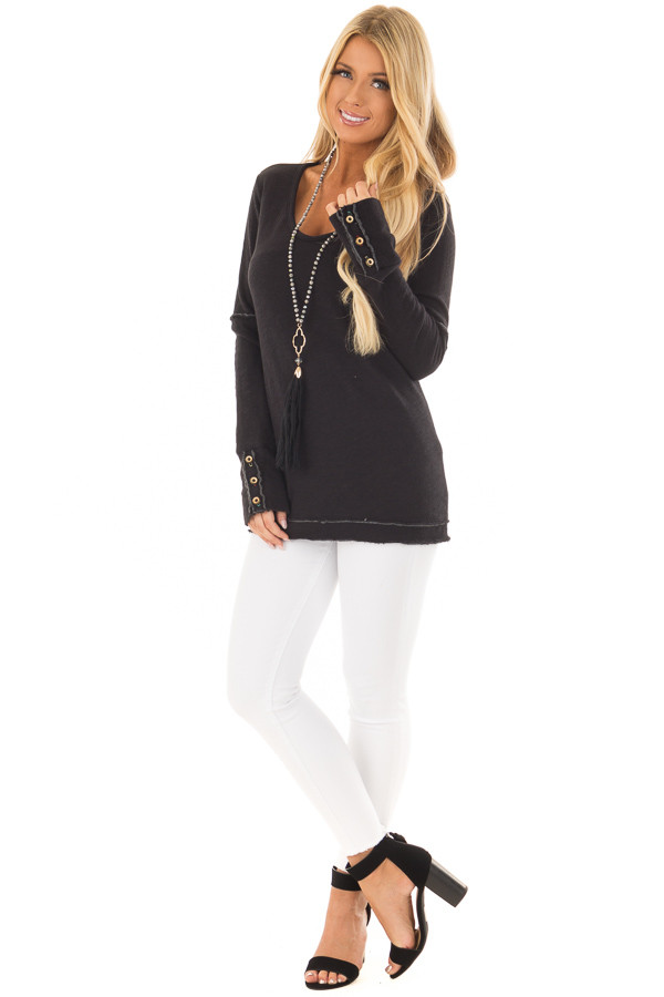 Black Long Sleeve Top with Distressed Hem and Button Cuffs front full body