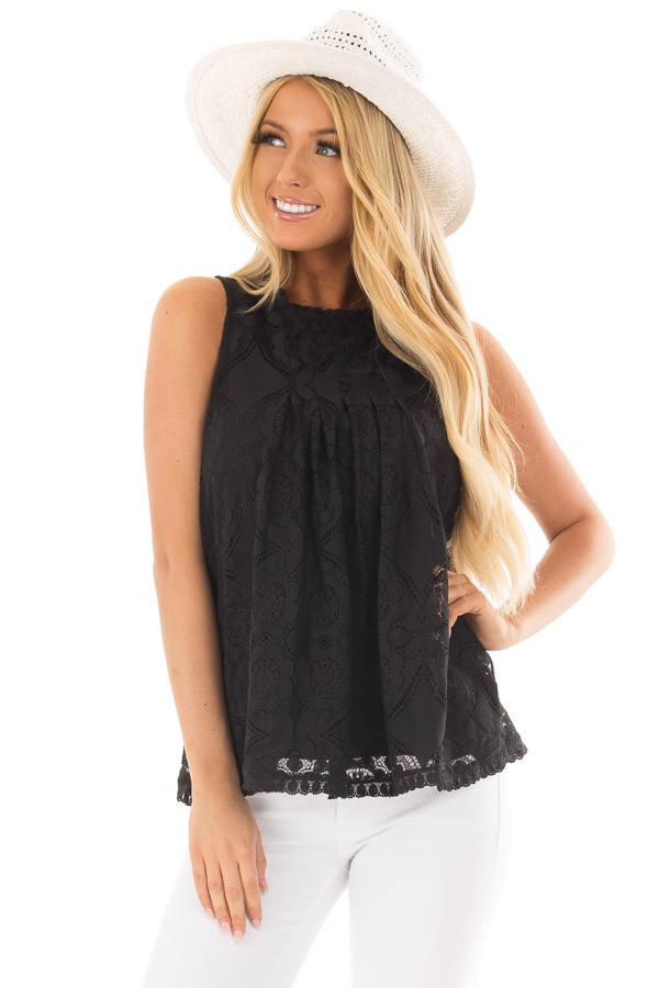 Black Lace Sleeveless Top with Keyhole Back front close up