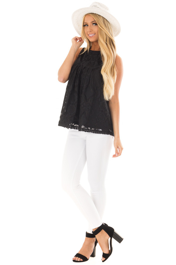 Black Lace Sleeveless Top with Keyhole Back front full body