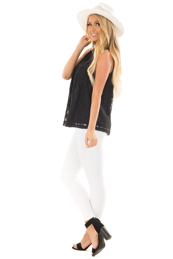 Black Lace Sleeveless Top with Keyhole Back side full body