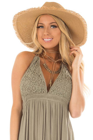 Tan Straw Wide Brim Hat with Black Tie front view