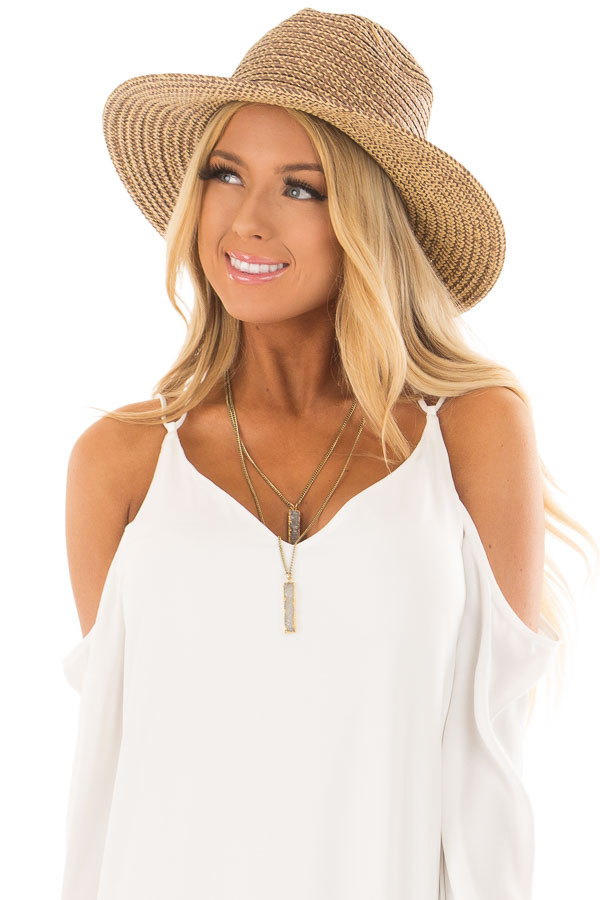 Beige Two Tone Straw Hat with Faux Suede Band front view