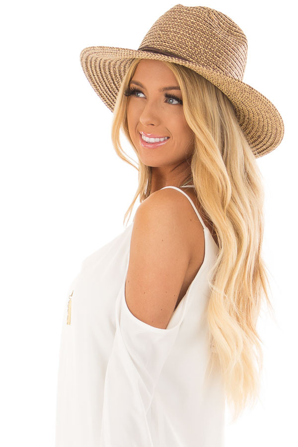Beige Two Tone Straw Hat with Faux Suede Band side view