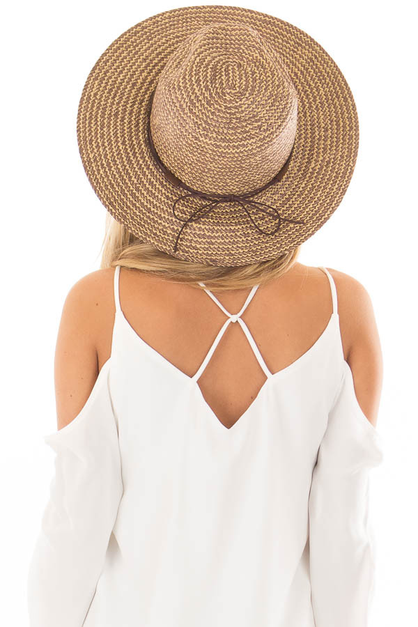 Beige Two Tone Straw Hat with Faux Suede Band back view