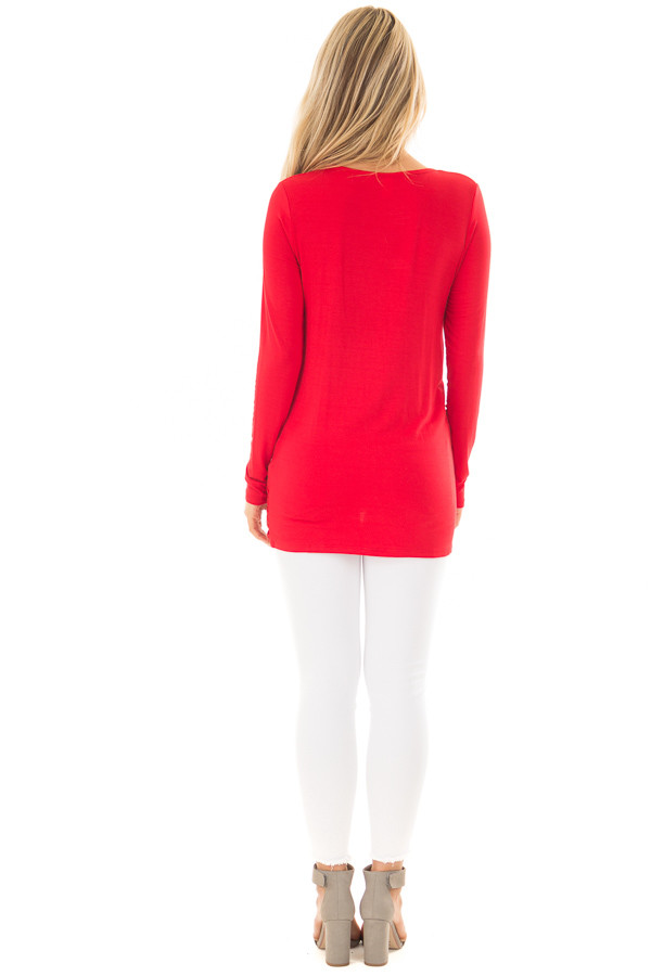 Lipstick Red Long Sleeve Top with Front Twist Detail back full body