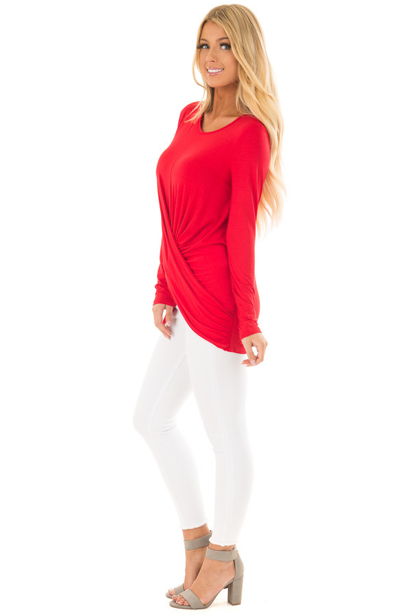 Lipstick Red Long Sleeve Top with Front Twist Detail side full body