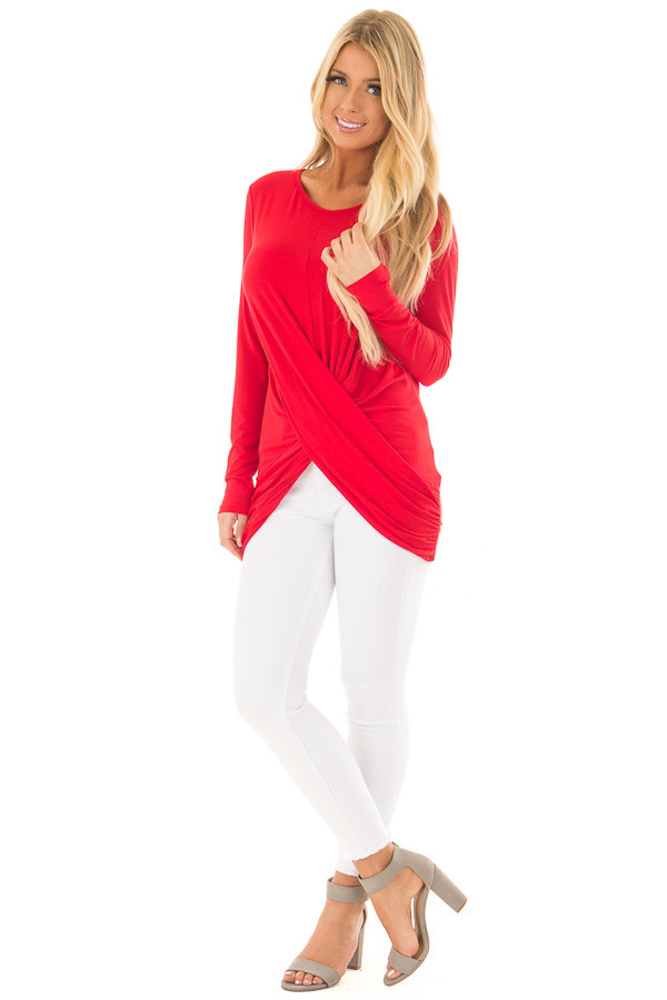 Lipstick Red Long Sleeve Top with Front Twist Detail front full body