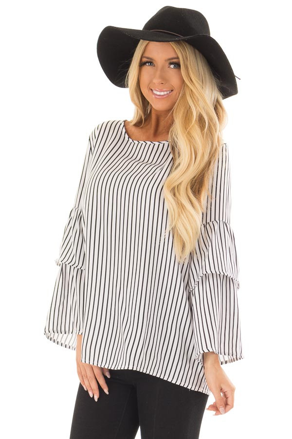 Black and White Striped Top with Tiered Bell Sleeves front close up