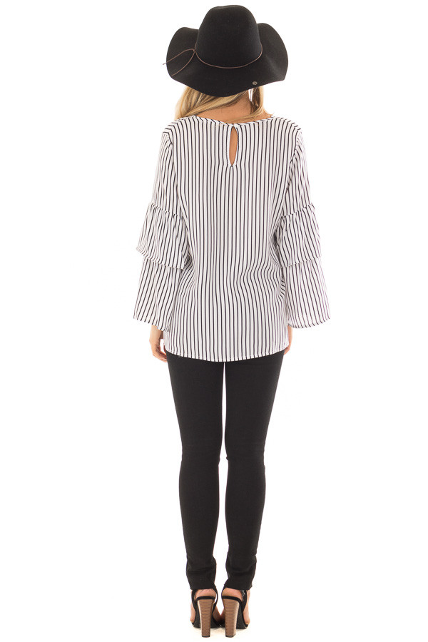 Black and White Striped Top with Tiered Bell Sleeves back full body