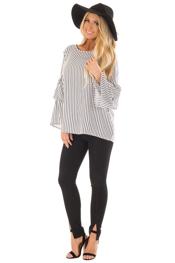 Black and White Striped Top with Tiered Bell Sleeves front full body