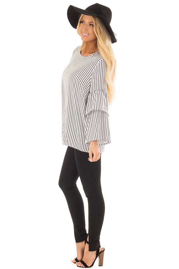 Black and White Striped Top with Tiered Bell Sleeves side full body