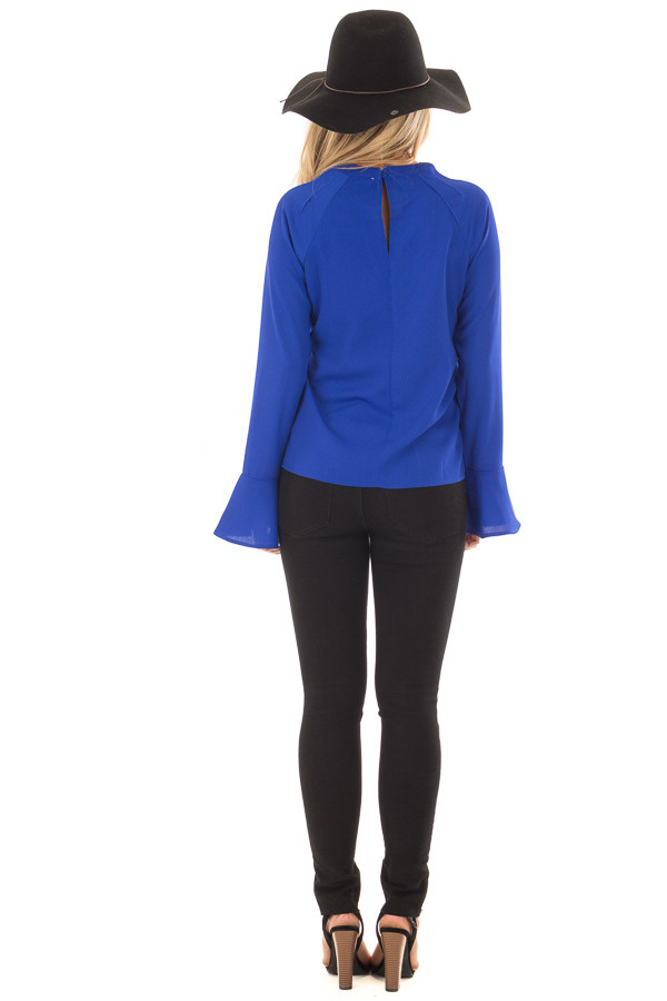 Royal Blue Long Sleeve Top with V Cut Out back full body