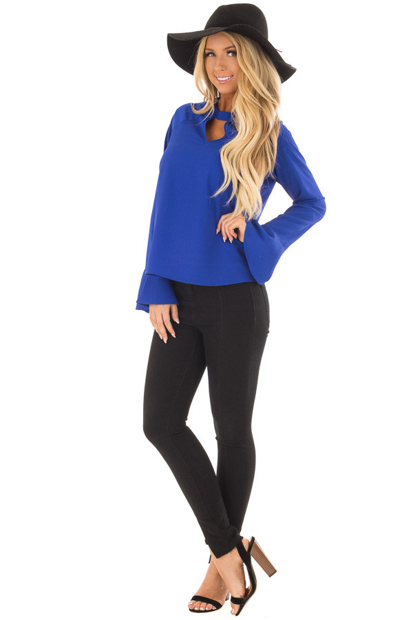 Royal Blue Long Sleeve Top with V Cut Out front full body